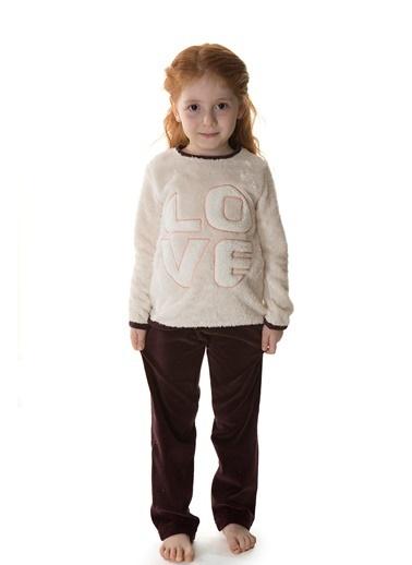 Hays Kids Kız Çocuk Üst Wellsoft Alt Kadife 2Li Uzun Pijama Takımı Bej